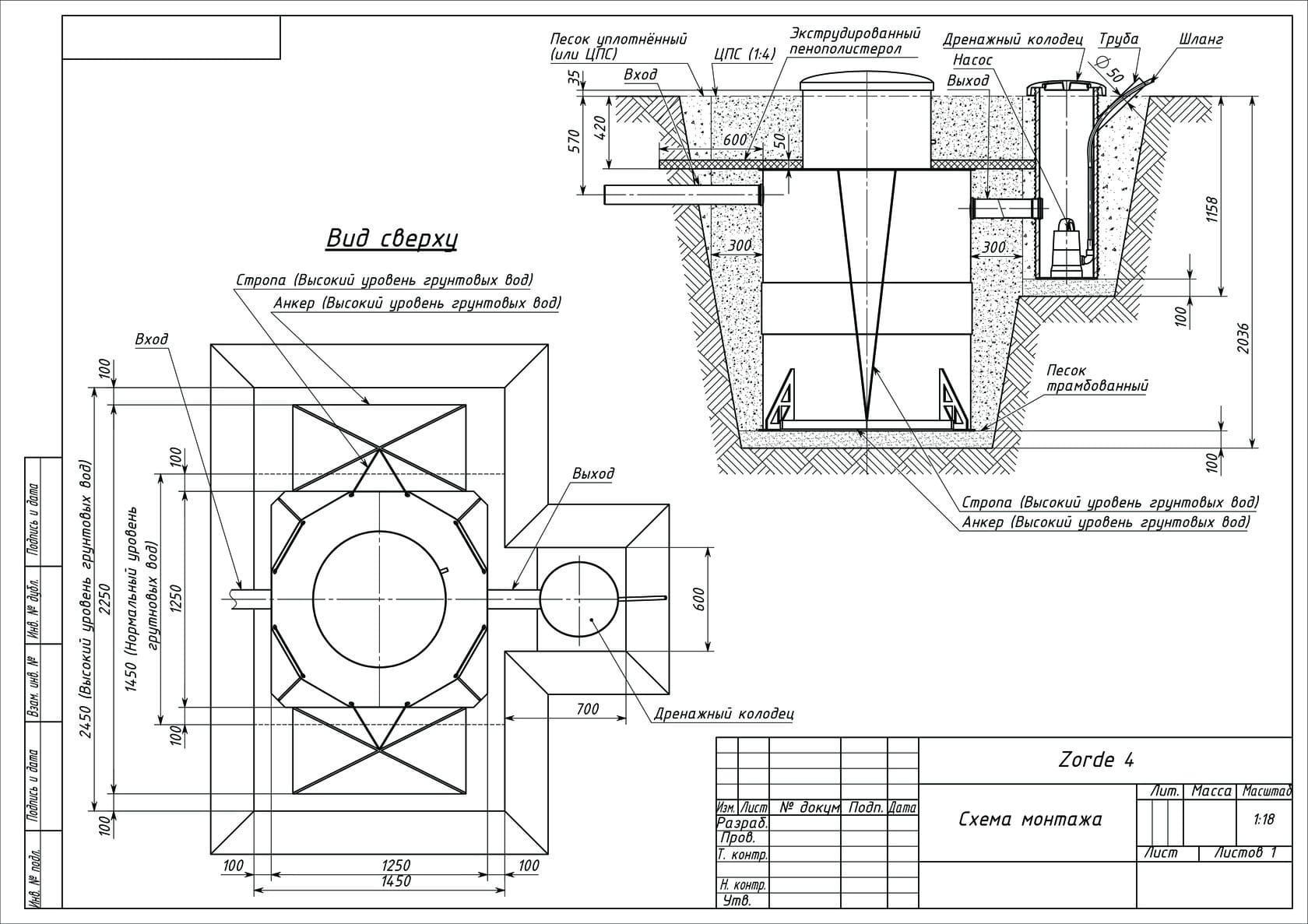 Схема монтажа Биореактора Zörde 4